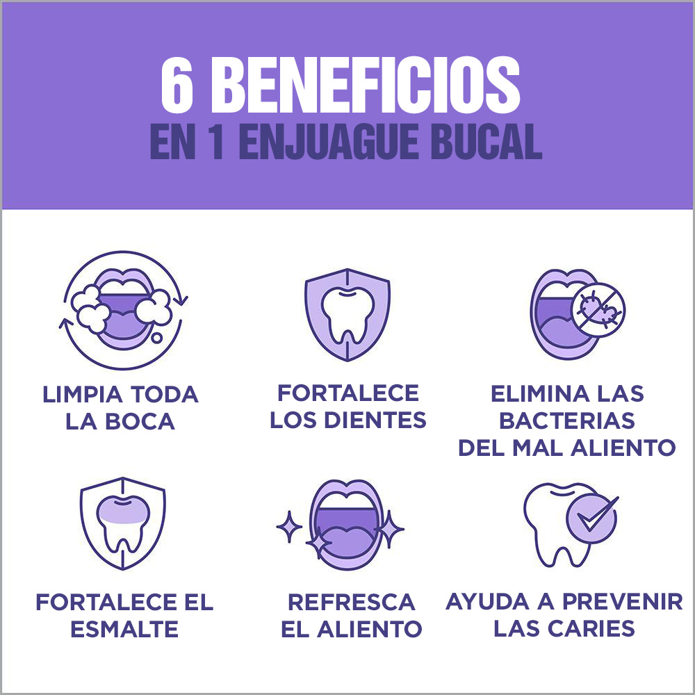 Enjuague bucal Listerine Total Care 6 beneficios en 1 púrpura